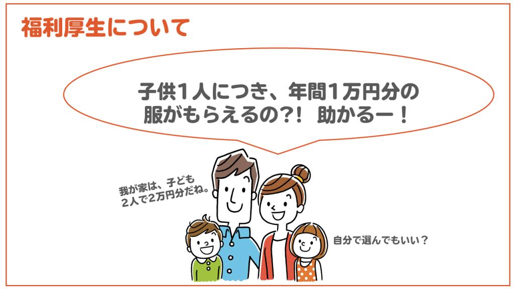 子ども一人につき1万円分の洋服支給